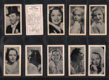 Tobacco cards cigarette cards Famous Film Stars by HILL 1938
